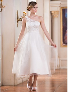 A-Line/Princess One-Shoulder Tea-Length Satin Tulle Wedding Dress With Ruffle Flower(s) Sequins