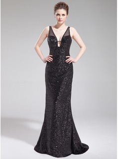 Sheath V-neck Sweep Train Tulle Sequined Evening Dress (017019565)