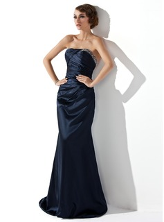 Sheath Strapless Sweep Train Charmeuse Evening Dress With Ruffle Beading (017002275)