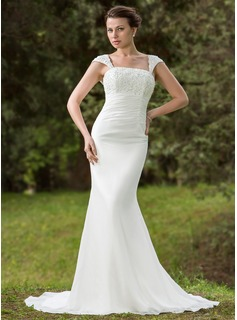 Mermaid Square Neckline Court Train Chiffon Wedding Dress With Ruffle Lace Beadwork Sequins (002001702)