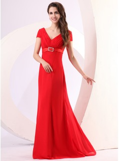 A-Line/Princess V-neck Floor-Length Chiffon Holiday Dress With Ruffle Crystal Brooch