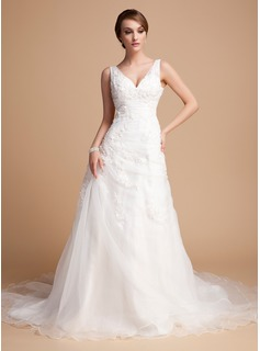 A-Line/Princess V-neck Chapel Train Organza Satin Wedding Dress With Ruffle Lace Beadwork (002000378)