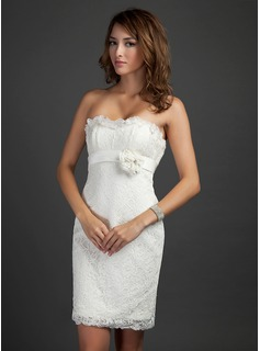 Sheath/Column Strapless Short/Mini Satin Lace Cocktail Dress With Beading Flower(s) Cascading Ruffles