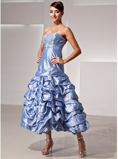 A-Line/Princess Strapless Tea-Length Taffeta Prom Dress With Ruffle Beading Sequins (018014425)