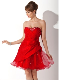 A-Line/Princess Sweetheart Short/Mini Taffeta Tulle Homecoming Dress With Ruffle Beading Flower(s)