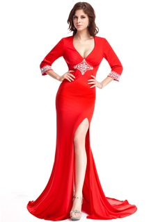 Sheath V-neck Court Train Jersey Evening Dress With Beading