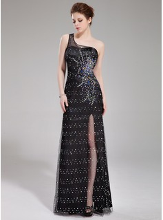 Sheath/Column One-Shoulder Floor-Length Tulle Charmeuse Prom Dress With Beading Split Front