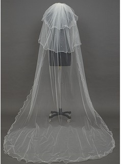 Three-tier Chapel Bridal Veils With Finished Edge