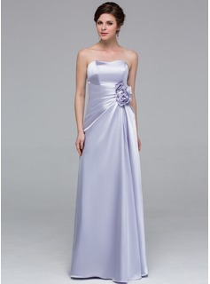 Sheath Sweetheart Floor-Length Charmeuse Bridesmaid Dress With Ruffle Flower(s)