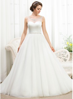 Ball-Gown Scoop Neck Court Train Satin Tulle Wedding Dress With Beading Sequins