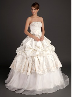 Ball-Gown Strapless Floor-Length Organza Satin Wedding Dress With Embroidery Beadwork Flower(s)