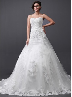 A-Line/Princess Sweetheart Cathedral Train Tulle Wedding Dress With Lace (002030758)