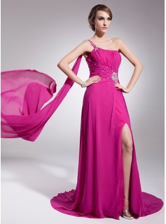 A-Line/Princess One-Shoulder Watteau Train Chiffon Evening Dress With Ruffle Beading