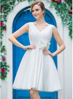 A-Line/Princess V-neck Knee-Length Satin Tulle Wedding Dress With Ruffle Flower(s)