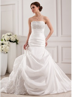 Mermaid Strapless Cathedral Train Taffeta Lace Wedding Dress With Beadwork (002019537)