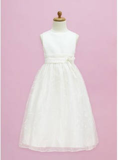 A-Line/Princess Scoop Neck Floor-Length Organza Satin Flower Girl Dress With Flower(s) Bow(s)