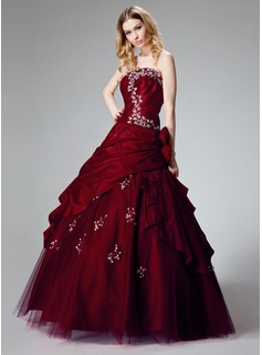 Ball-Gown Strapless Floor-Length Taffeta Quinceanera Dress With Ruffle Lace Beading Flower(s) Sequins