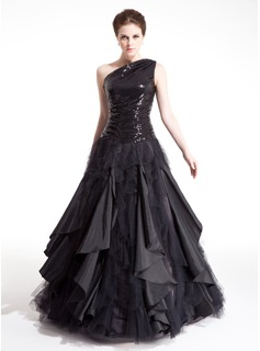 A-Line/Princess One-Shoulder Floor-Length Taffeta Tulle Sequined Prom Dress With Ruffle (018004860)