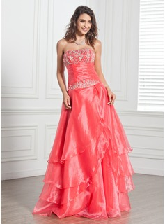 A-Line/Princess Strapless Floor-Length Organza Quinceanera Dress With Embroidered Ruffle Beading Sequins
