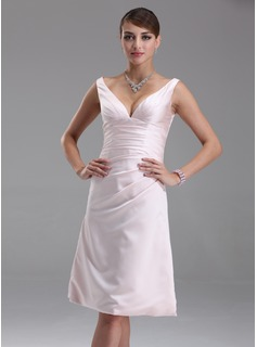 Empire V-neck Knee-Length Satin Bridesmaid Dress With Ruffle (007001054)