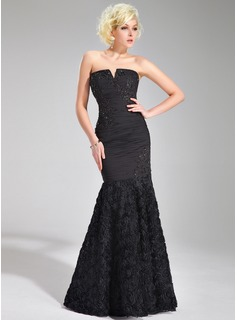 Trumpet/Mermaid V-neck Floor-Length Chiffon Prom Dress With Ruffle Lace Beading Flower(s)