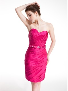 Sheath Scalloped Neck Short/Mini Taffeta Cocktail Dress With Ruffle Beading