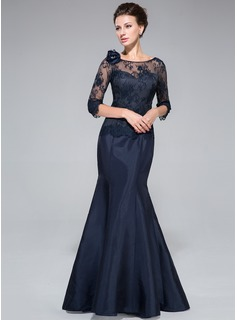 Trumpet/Mermaid Off-the-Shoulder Floor-Length Taffeta Lace Mother of the Bride Dress With Flower