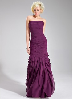 Sheath Strapless Floor-Length Chiffon Evening Dress With Ruffle (017019556)