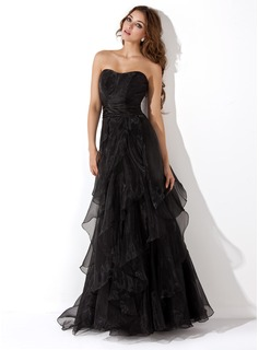 A-Line/Princess Sweetheart Floor-Length Organza Prom Dress With Ruffle Cascading Ruffles