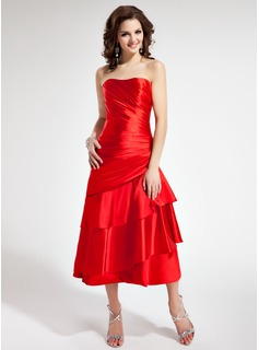 A-Line/Princess Sweetheart Tea-Length Charmeuse Homecoming Dress With Ruffle (022011244)