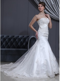 Trumpet/Mermaid Sweetheart Cathedral Train Satin Tulle Wedding Dress With Lace Beading