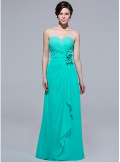 A-Line/Princess Sweetheart Floor-Length Chiffon Bridesmaid Dress With Flower