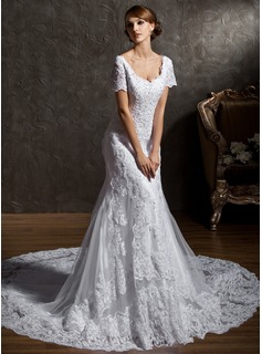 Mermaid Sweetheart Chapel Train Satin Tulle Wedding Dress With Lace Beadwork (002011596)