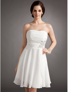 A-Line/Princess Strapless Knee-Length Chiffon Wedding Dress With Ruffle Lace Beadwork Sequins