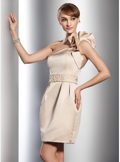 Sheath/Column One-Shoulder Short/Mini Satin Wedding Dress With Beading