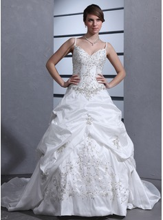 Ball-Gown Sweetheart Chapel Train Taffeta Wedding Dress With Embroidery Ruffle Beading Sequins