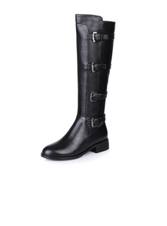Real Leather Flat Heel Knee High Boots Riding Boots With Buckle shoes
