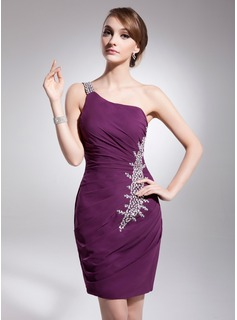 Sheath One-Shoulder Knee-Length Chiffon Cocktail Dress With Ruffle Beading Sequins