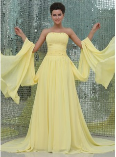 A-Line/Princess Strapless Watteau Train Chiffon Holiday Dress With Ruffle Beading
