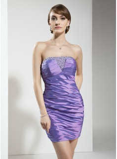 Sheath/Column Strapless Short/Mini Taffeta Cocktail Dress With Ruffle Beading Sequins