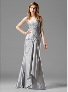 Trumpet/Mermaid Sweetheart Floor-Length Taffeta Bridesmaid Dress With Ruffle Beading