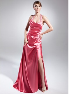 A-Line/Princess Halter Floor-Length Charmeuse Evening Dress With Ruffle Beading Sequins
