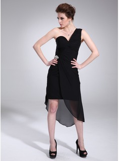 Sheath One-Shoulder Asymmetrical Chiffon Cocktail Dress With Ruffle Crystal Brooch (016021267)