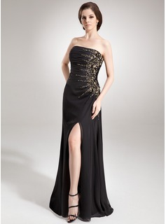 Sheath Strapless Floor-Length Chiffon Evening Dress With Ruffle Beading