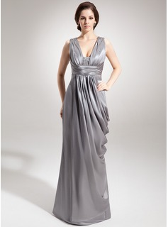 Sheath V-neck Floor-Length Charmeuse Mother of the Bride Dress With Ruffle Beading