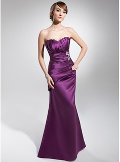 Sheath Scalloped Neck Floor-Length Satin Evening Dress With Ruffle Beading
