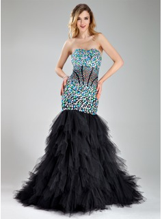 Mermaid Sweetheart Court Train Tulle Prom Dress With Beading (018018829)