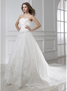 Ball-Gown Strapless Cathedral Train Organza Satin Wedding Dress With Embroidery Beadwork