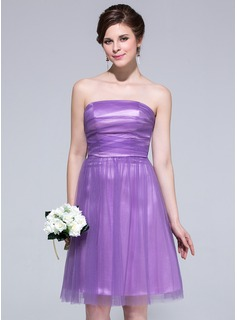 A-Line/Princess Strapless Knee-Length Tulle Charmeuse Bridesmaid Dress With Ruffle