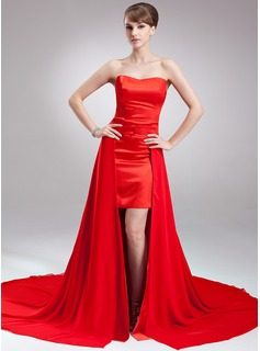 A-Line/Princess Sweetheart Asymmetrical Detachable Chiffon Satin Holiday Dress